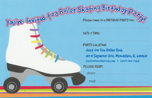 Party invitations to print just for fun roller rinks invitation blue filmwisefo Gallery