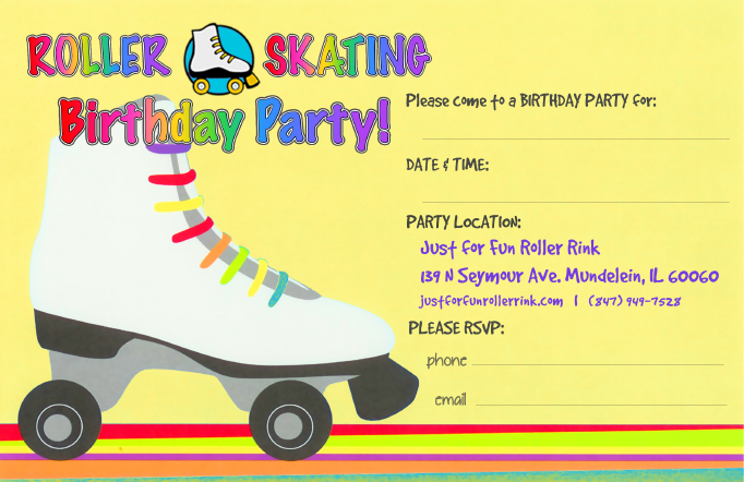 Party invitations to print just for fun roller rinks invitation yellow skate filmwisefo Gallery